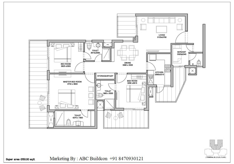 3. Bestech Park View Altura Floor Plan 3 BHK + S.R – 2150 Sq. Ft.