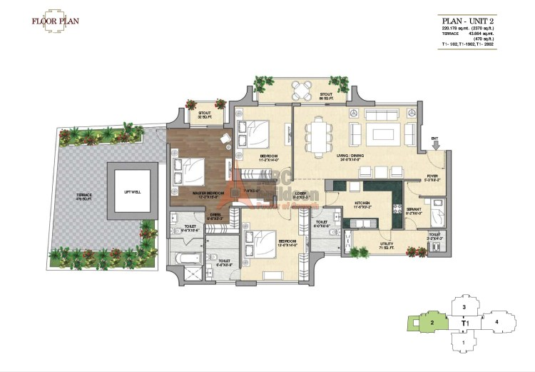 6. Vipul Aarohan Floor Plan 3 BHK + S.R + Terrace – 2840 Sq. Ft.