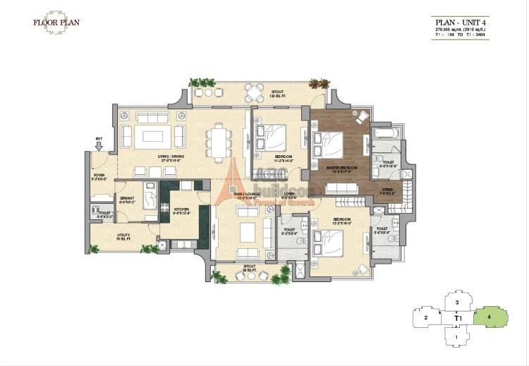 7. Vipul Aarohan Floor Plan 3 BHK + S.R + F.L – 2910 Sq. Ft.