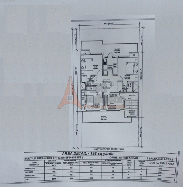 5. Central Park 3 Floors Floor Plan 3 BHK – 1230 (FF) Sq. Ft.