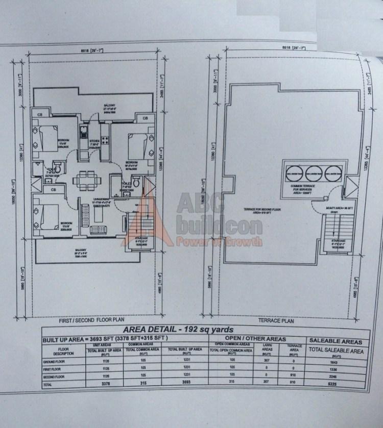 6. Central Park 3 Floors Floor Plan 3 BHK – 230 (SF) Sq. Ft.