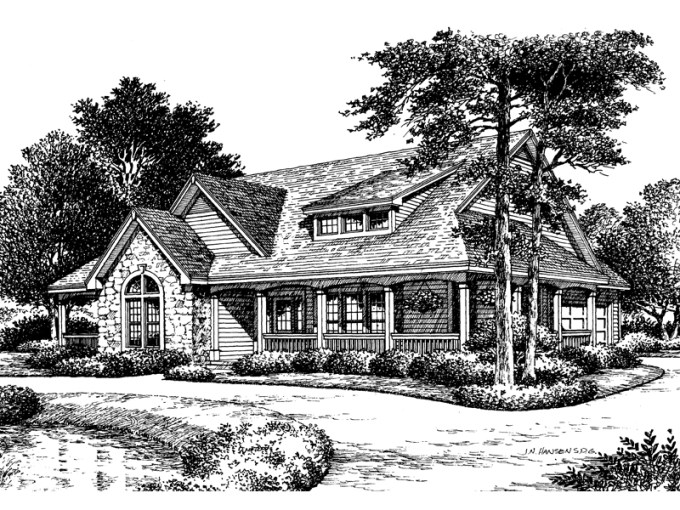 Summerset Country Home Plan 007D 0055   House Plans and More Bungalow House Plan Front Image of House   007D 0055   House Plans and More