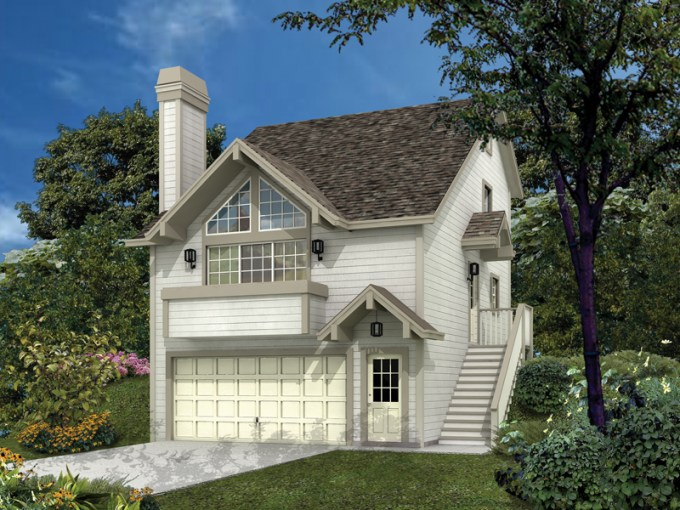 Siminridge Sloping Lot Home Plan 007D 0087   House Plans and More Compact Home For Sloping Lot