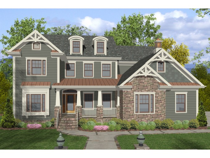 Dawson Pass Craftsman Home Plan 013D 0158   House Plans and More Two Story Craftsman Style Home Has Great Trim Details