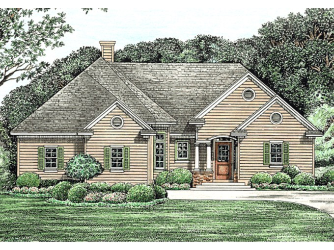 Morton Creek Ranch Home Plan 026D 1346   House Plans and More Ranch Home Has Great Curb Appeal For An Inviting Entry
