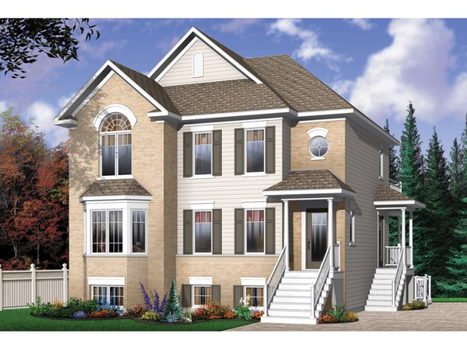 Geary Place Triplex Townhouse Plan 032D 0383   House Plans and More Multi Family Home Offers Three Units