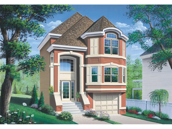 Comstock Narrow Lot Townhouse Plan 032D 0619   House Plans and More Multi Level Stucco Home Has Townhouse Feel Perfect For A Narrow Lot