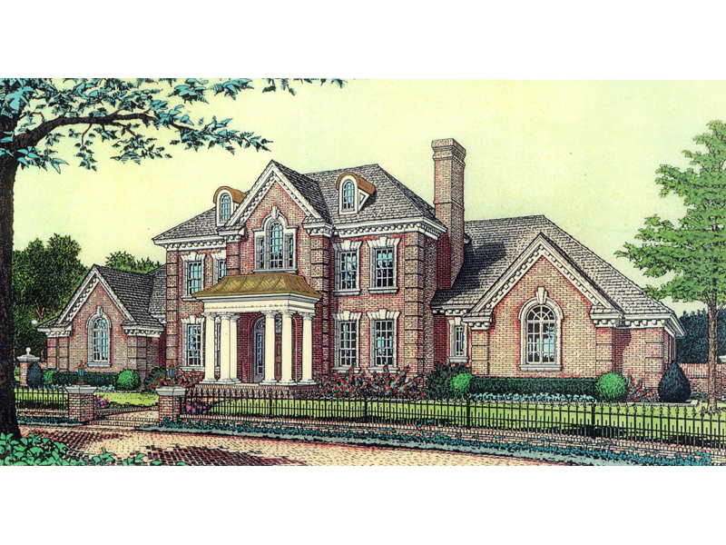 Anssonnette Luxury Colonial Home Plan 036D 0174   House Plans and More Stately Columns Adorn The Entry Of This Luxury Colonial Home