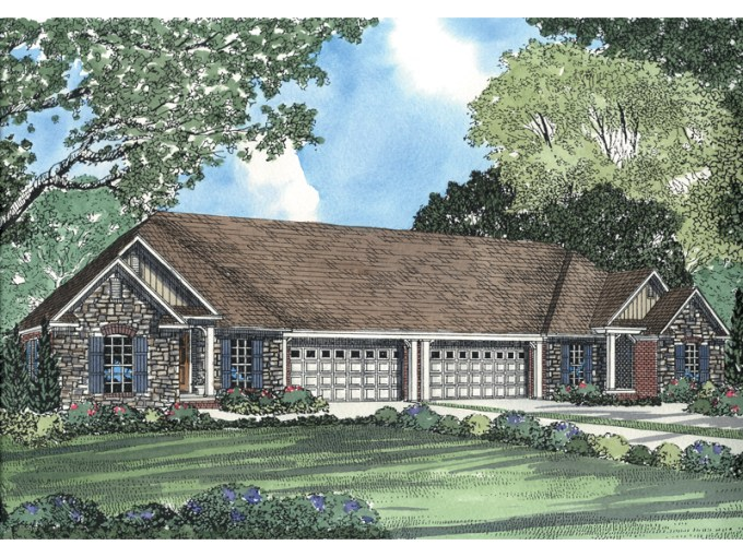 Country Crossing Duplex Plan Plan 055D 0378   House Plans and More Country Style Multi Family House Plan