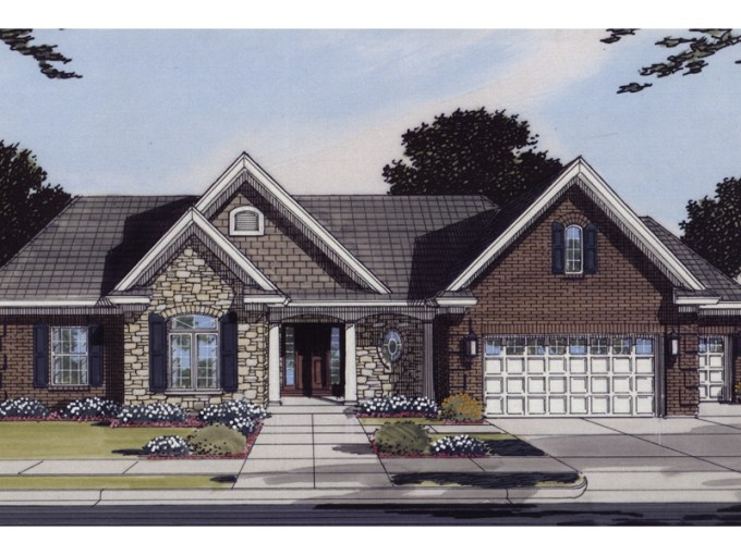 Grantway Traditional Ranch Home Plan 065D 0095   House Plans and More Home With Inviting Arched Entry