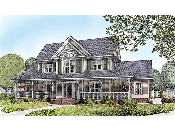 Persimmon Place Farmhouse Plan 067D 0017   House Plans and More Country Style Two Story Farmhouse With Charming Covered Porch