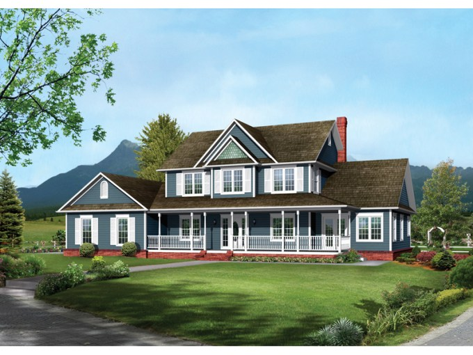 Bennington Country Farmhouse Plan 068D 0016   House Plans and More Farmhouse Style Two Story Has Inviting Covered Front Porch