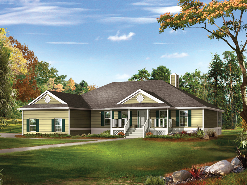 Farm Pond Country Ranch Home Plan 081D 0041 House Plans
