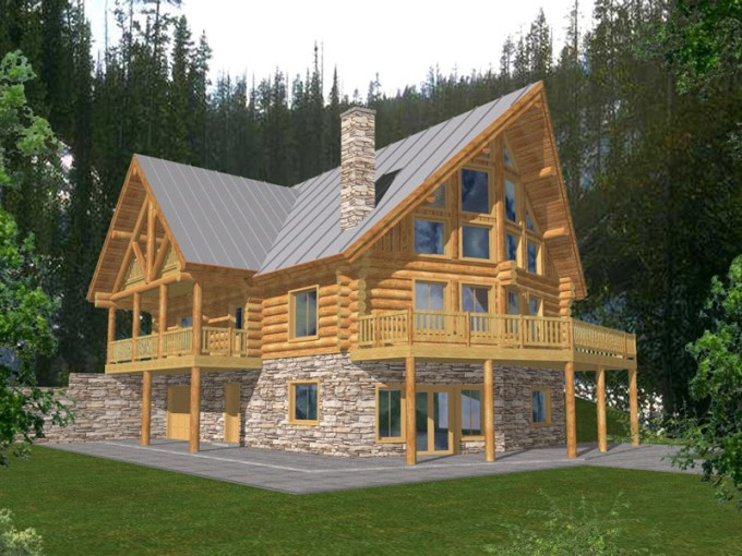 Forestbriar Luxury A Frame Home Plan 088D 0049   House Plans and More Luxury A Frame Style Two Story With Log Cabin Charm