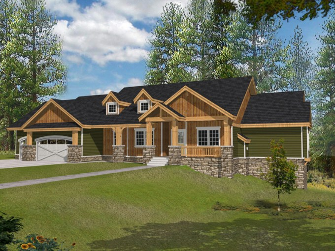 Muirfield Castle Rustic Home Plan 096D 0038   House Plans and More Rustic Craftsman Style Ranch House With Stone Accents