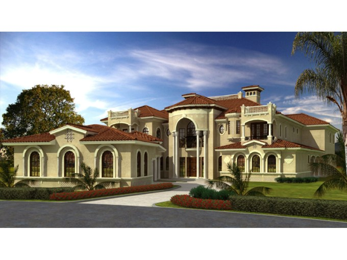 San Carlo Manor Spanish Home Plan 106S 0100   House Plans and More Luxury Spanish Mediterranean Style Home With Decorative Window Accents