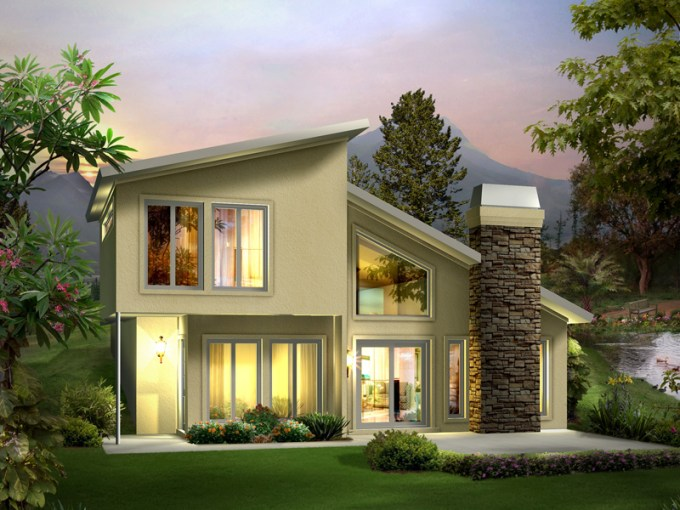 Eureka Berm Home Plan 122D 0001   House Plans and More Contemporary Style Two Story House Built Into The Earth