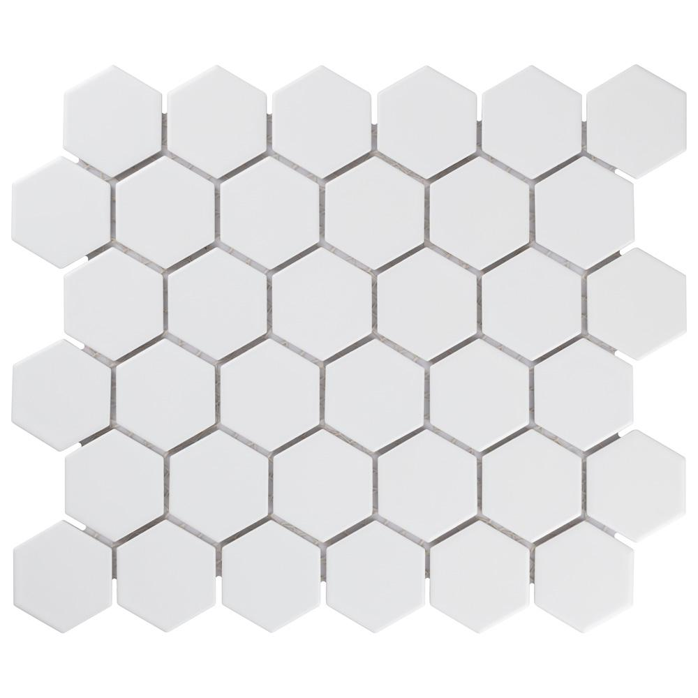 merola tile metro hex white porcelain mosaic tile