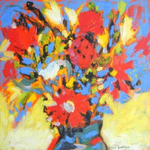 "Bouquet, © Flora Doehler, 2014 oil on birchwood cradleboard 12"" x 12"" $300"