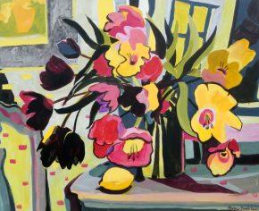 "©Flora Doehler Flowers in Winter Acrylic on canvas 36"" x 30"" $1200 (Teichert Gallery, Halifax)"