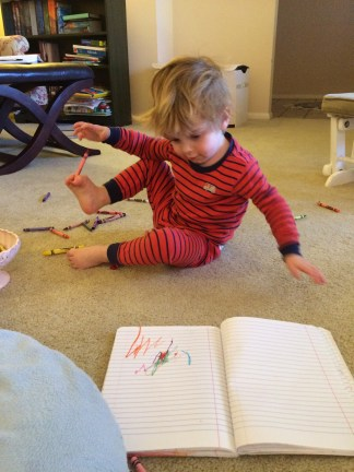 drawing with his toes