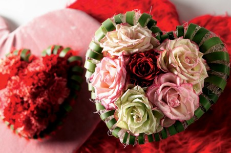 Roses in a heart-shape