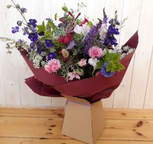 Hand tied bouquet ready for delivery