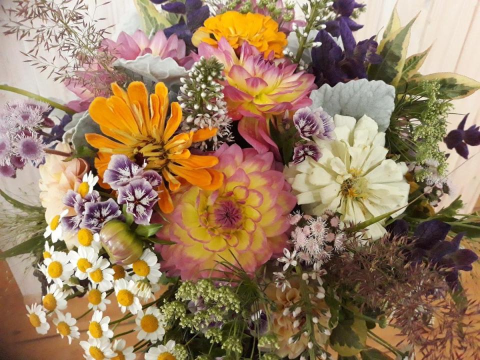 Dahlia bouquet Floral Acre Somerset