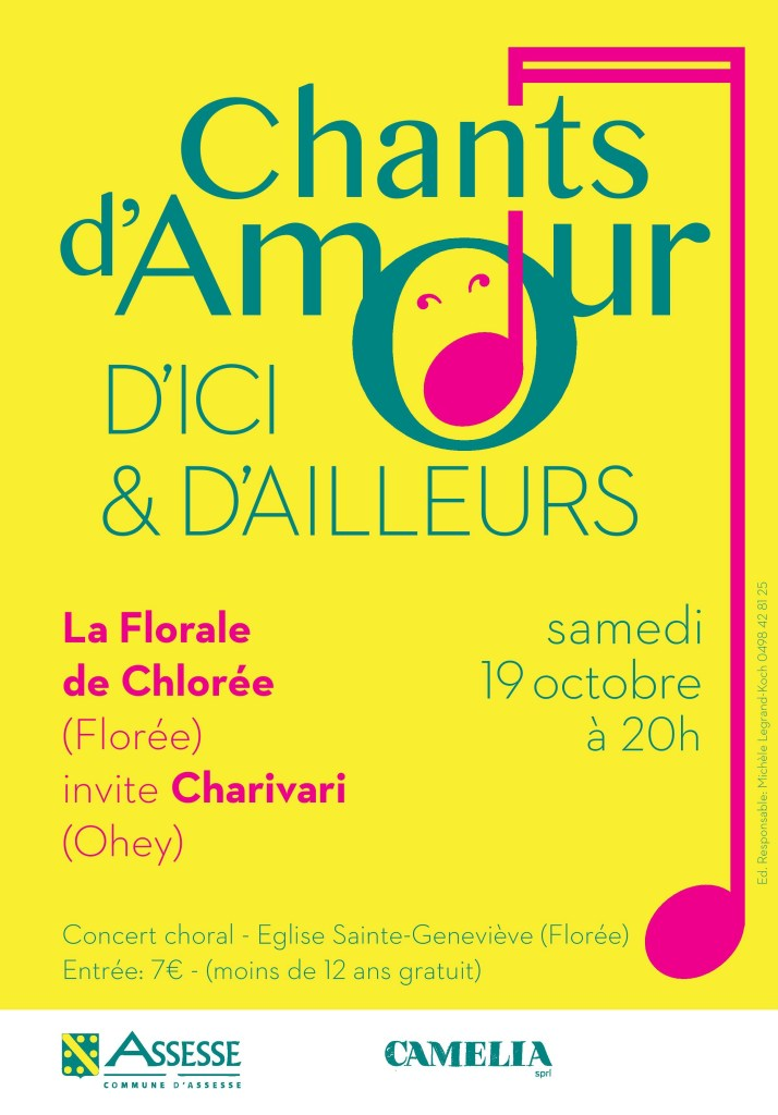 Chants d'amour d'ici et d'ailleurs : concert de la Florale de Chlorée le 19 octobre 2019 à 20H à Florée