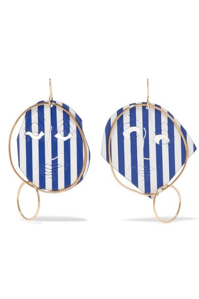 JW ANDERSON Moon Face gold-tone and varnish earrings