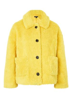 TOPSHOP Cropped Button Borg Coat