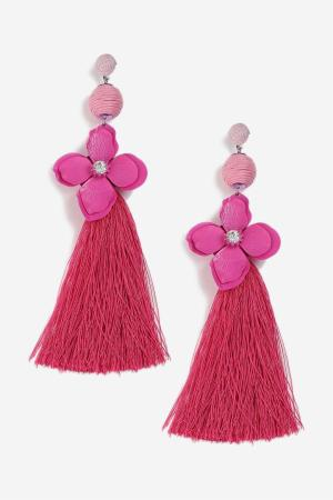 Topshop Rhinestone Flower and Tassel Earrings