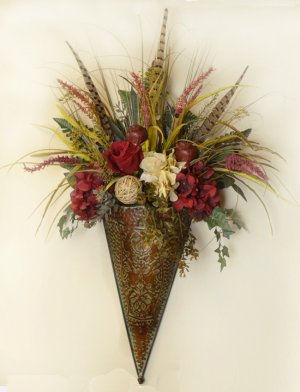 Burgundy Hydrangea Silk Floral Wall Sconce SC26 : Floral ... on Decorative Wall Sconces For Flowers Arrangements id=70312