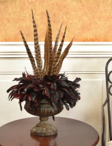 Chocolate Pheasant Feather Wall Sconce SC102-75 : Floral ... on Decorative Wall Sconces For Flowers Arrangements id=54370