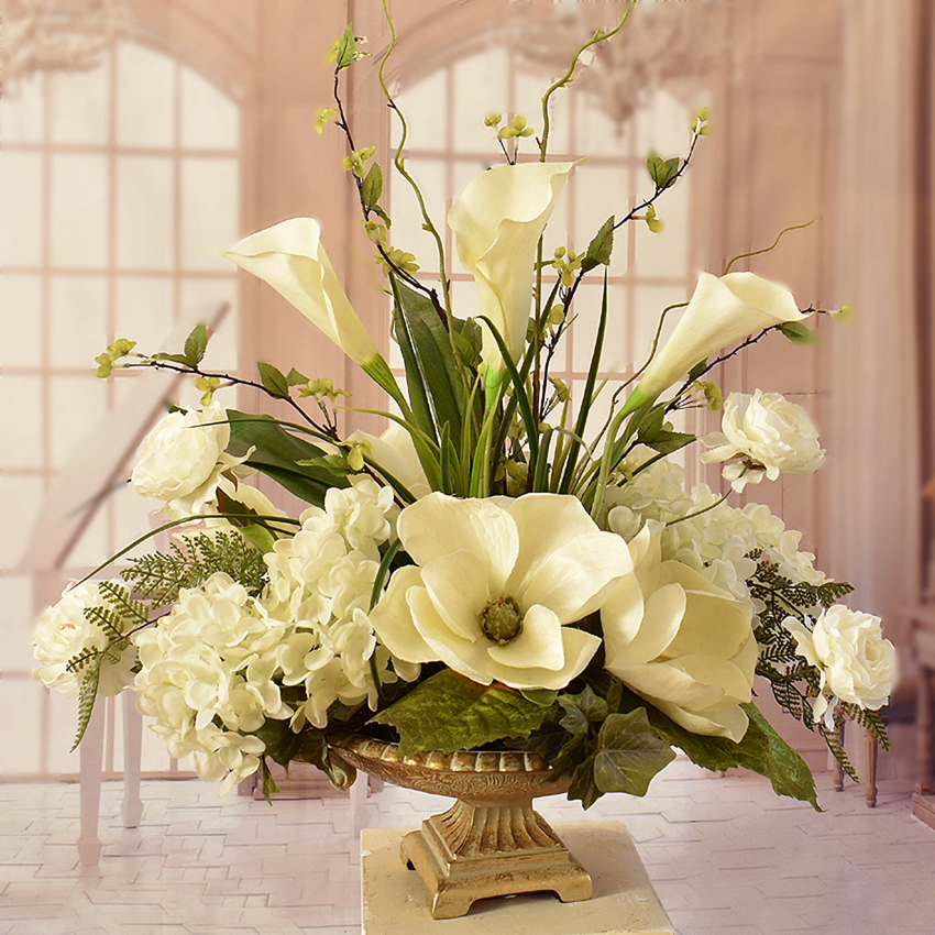 Cream Faux Magnolia Feather Wall Sconce SC24 : Floral Home ... on Wall Sconce Floral Arrangements Arrangement id=96879