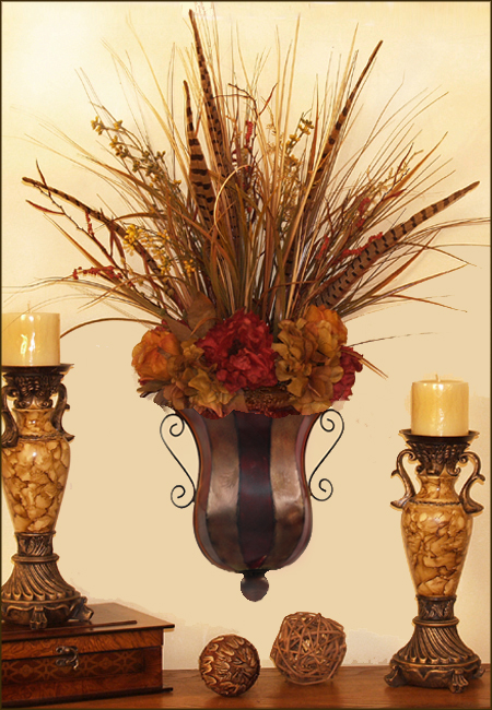 Hydrangea and Natural Botanical Silk Flower Wall Sconce ... on Wall Sconce Floral Arrangements Arrangement id=61895