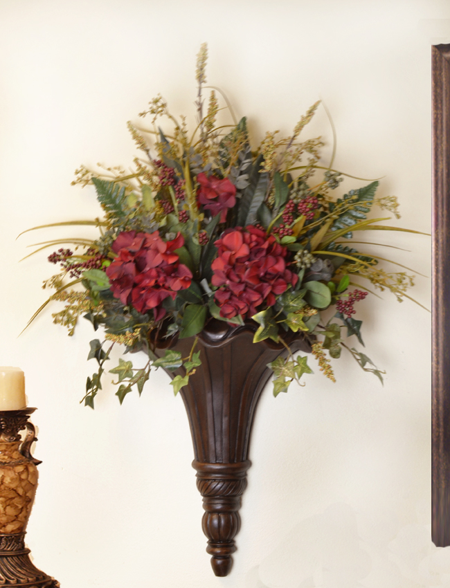Deluxe Laurel Silk Ledge Planter AR145-44 : Floral Home ... on Flower Wall Sconces id=52677