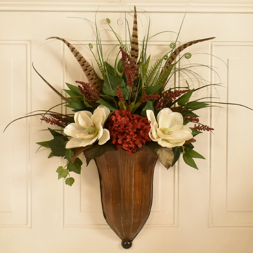 Wildflower, Feather, Peony Natural silk Floral Design ... on Decorative Wall Sconces For Flowers Arrangements id=17024