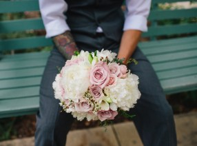 White Peony, blush rose, freesia bridal bouquet; Jennifer Whalen Photography