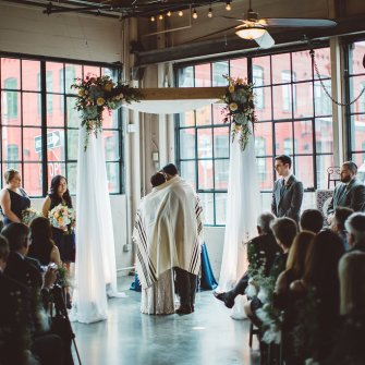 Floating chuppah set-up at Castaway