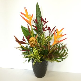Tropical flowers for a weekly restaurant client
