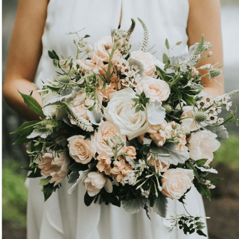 Mostly round gardeny white & blush bridal bouquet