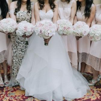 Elegant white & blush round bouquets