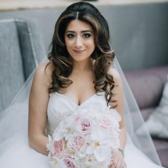 Elegant white & blush bridal bouquet with orchids