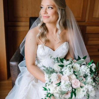 Romantic white & blush florals with a touch of emerald greenery
