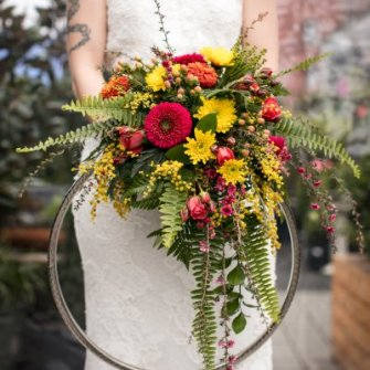 Modern bouquet with metal hoop
