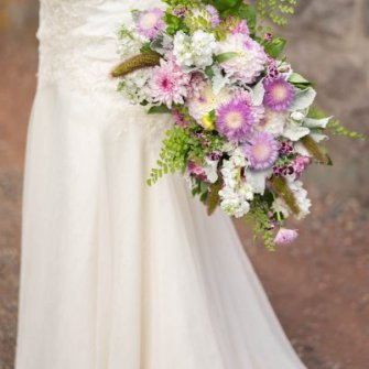 Summer lavenders & white flowers oblong/cascading bouquet
