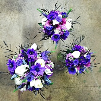 Dramatic purples and blues bouquets
