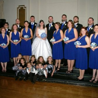blue hydrangeas and white roses bridesmaids bouquets