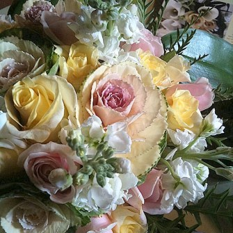 pastel flowers with mini ornamental kale